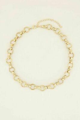 MJ03966 goud/gold Ketting met ronde schakels - My Jewellery