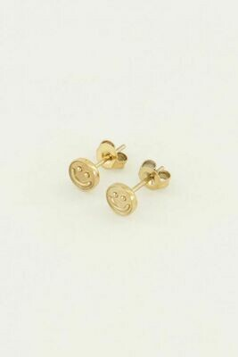 MJ04239 goud/gold Studs smiley- My Jewellery