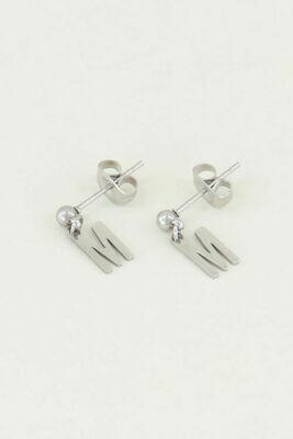 MJ02140 zilver Studs Met Initial - My Jewellery