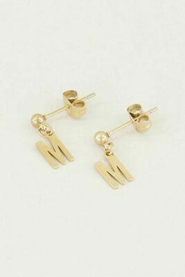MJ02140 goud/gold studs Met Initial -My Jewellery