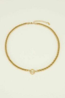 MJ03676-AL goud/gold Ketting chunky initails -My Jewellery