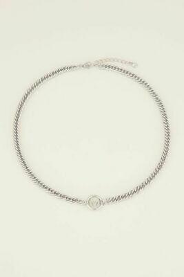 MJ03676-AL zilver Ketting chunky initails - My Jewellery
