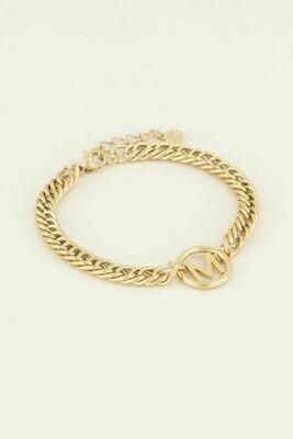 MJ03706-ML goud/gold Armband chunky initials -My Jewellery