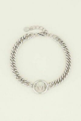 MJ03706-ML zilver Armband chunky initials -My Jewellery