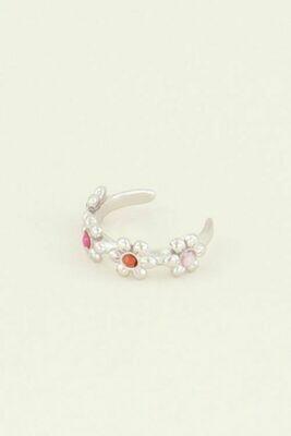 MJ03927 zilver Ear Cuff Vier Bloemetjes - My Jewellery
