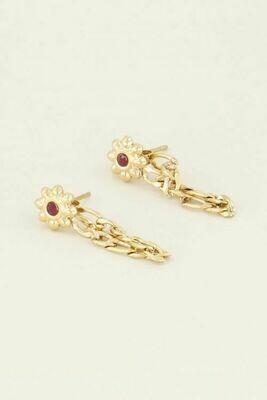 MJ03817 goud/gold Oorhangers Bloem steentje - My jewellery