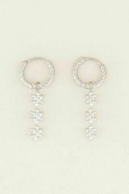 MJ03803 zilver Oorringen Drie Bloemetjes - My Jewellery