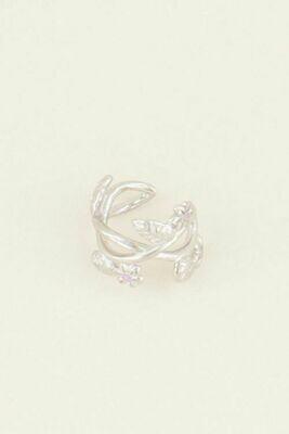 MJ03926 zilver Ear Cuff roze bloemen- My Jewellery