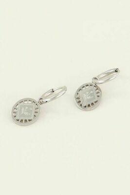 MJ03806 zilver oorringen bloem ruitje -  My Jewellery