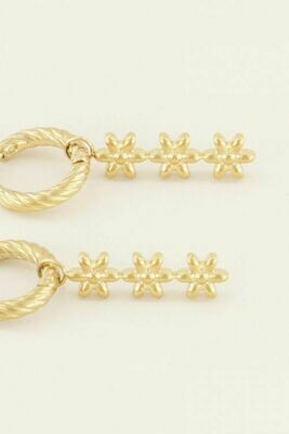 MJ03803 Goud Oorringen drie Bloemetjes- My Jewellery