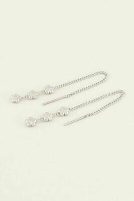 MJ03816 zilver Oorhangers Drie Bloemetjes-My Jewellery