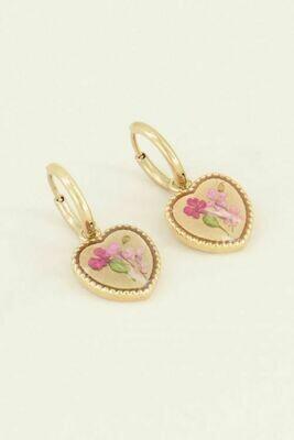MJ03807 Goud Oorringen wildflower Hartje- My Jewellery