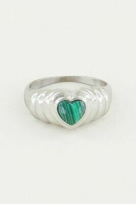 Mj02523 zilver Ring Malachite Hartje - My Jewellery