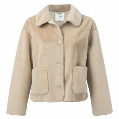 162117 SAND Fake Fur Short Jacket-YaYa