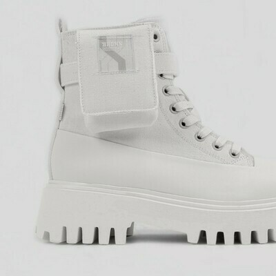 47345-N off-white  groove bootie Canvas-Bronx