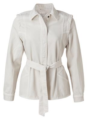 151134-112 OFF WHITE Denim Jacket With shoulder Detail -YaYa