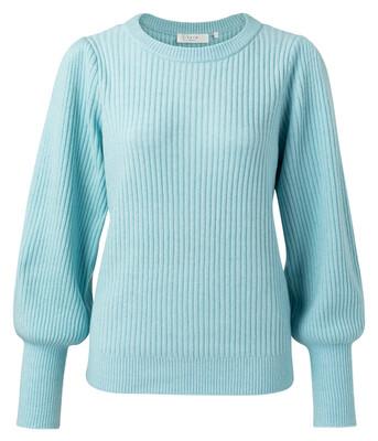 1000413-112 SKY Sweater in a rib stitch with balloon sleeves-YaYa