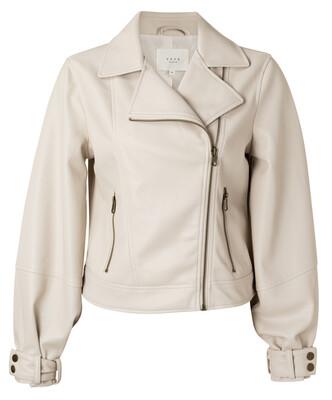 162926-112 SHIFTING SAND Faux Leather Biker Jacket-YaYa