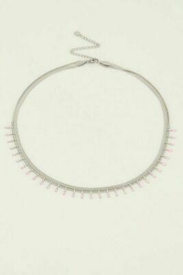 MJ04863 zilver - Ketting dubbel roze - My Jewellery