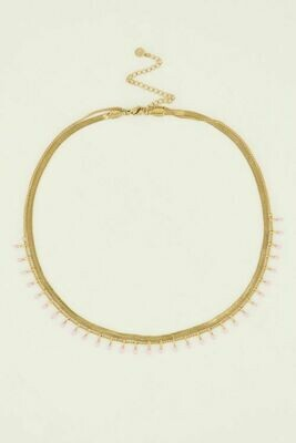 MJ04863 goud/gold Ketting dubbel roze - My Jewellery