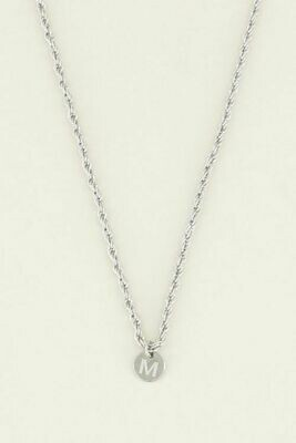 MJ04861 zilver -  zilver kleurige ketting met initiaal vintage - My Jewellery