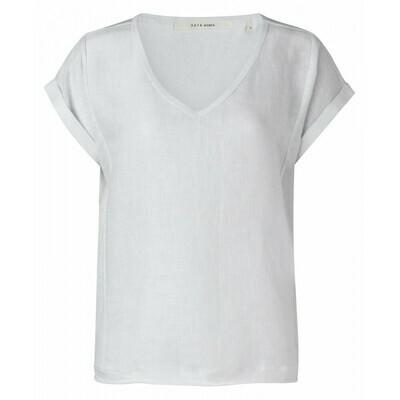 1901288-114 Linen fabric mix top- PURE WHITE-YaYa