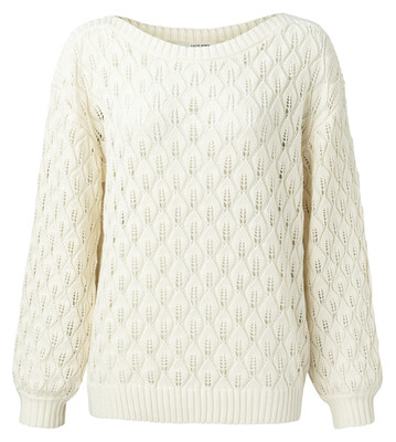 1000446-115 Pointelle knitted sweater BLEACHED SAND-YaYa