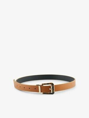 17112956 riem PCLIZ Twist jeans belt BLACK/Cognac - Pieces