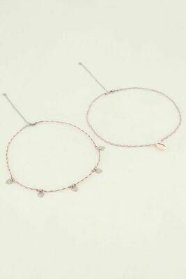 MJ05057 Ketting set schelp en hartjes -Zilver- My Jewellery