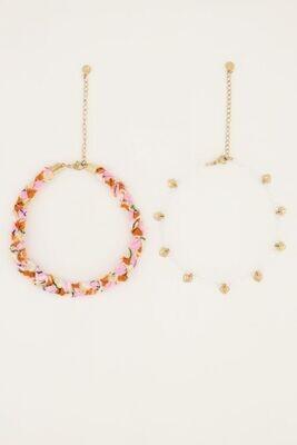 MJ05114 Oranje gevlochten enkelband set Goud-My Jewellery