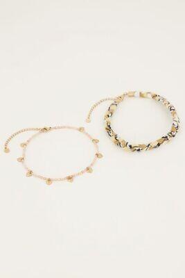 Beige gevlochten enkelband MJ05113 Goud-My Jewellery