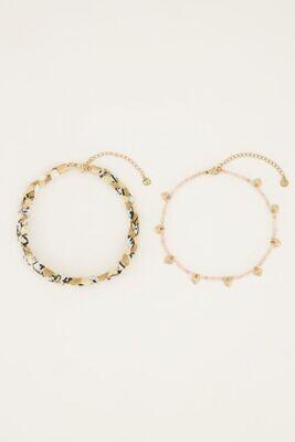 Beige gevlochten enkelband MJ05113 Zilver-My Jewellery