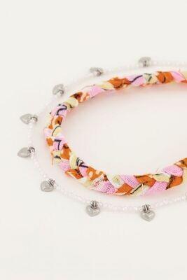 MJ05114  Oranje gevlochten enkelband set Zilver-My Jewellery