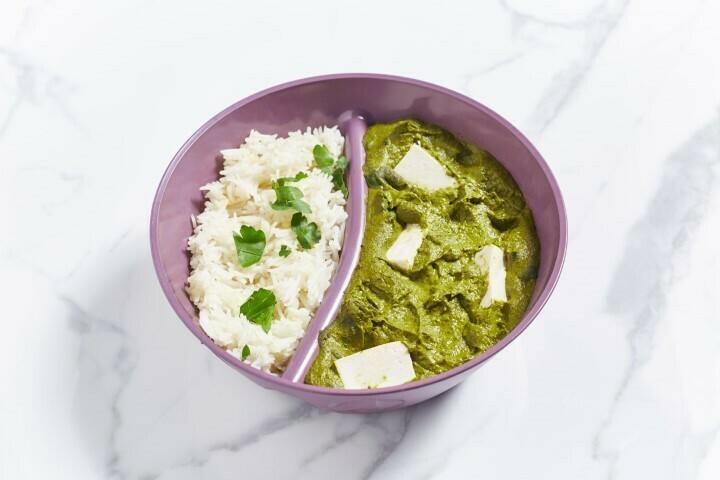 Palak Paneer mit Tofu und Reis