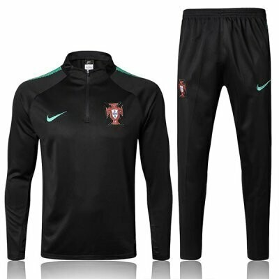 2018 Portugal Black Sleeve Green Training Suit