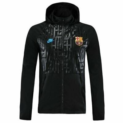 Barcelona Black Windrunner Hoodie Jacket 20-21