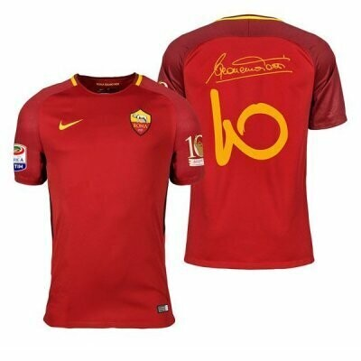 17-18 AS Roma Home Retro Jersey Print Totti 10 Special Retire Patch