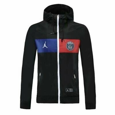 PSG x Jordan Black Windrunner Hoodie Jacket 20-21