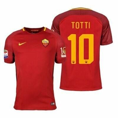 17-18 AS Roma Home Retro Jersey Print Totti 10 Retire Patch