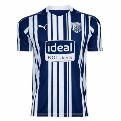 20-21 West Bromwich Home Blue & White Soccer Jersey