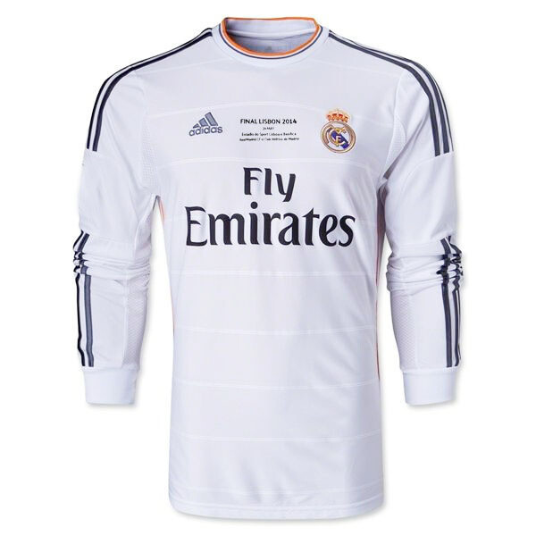 Real Madrid UCL Final Long Sleeve Home Retro Jersey  2013-14 (Replica)