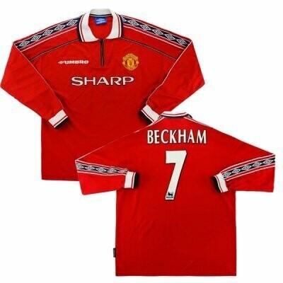 Retro Manchester United Home Long Sleeve Retro Jersey Beckham #7 Print(Replica) 1998-2000