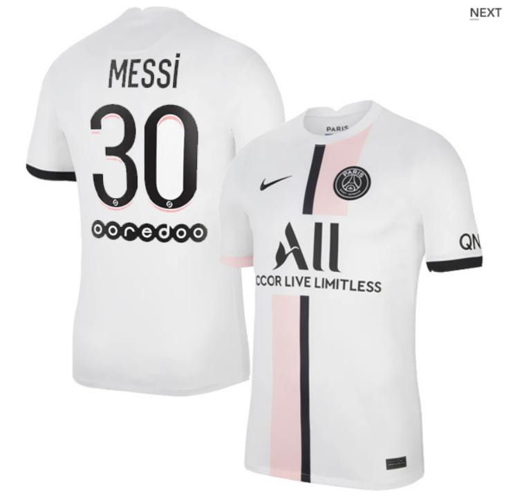 PSG Away White Messi #30 Ligue 1 Jersey