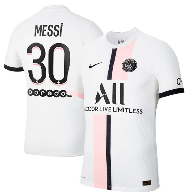 PSG Away White and Pink Messi #30 Ligue 1 Jersey (Player version)