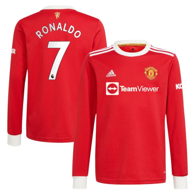 Manchester United Home RONALDO #7 Soccer Jersey 21-22 Long Sleeve (EPL Print)