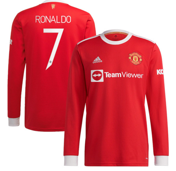 Man United Home RONALDO #7 Soccer Jersey Long Sleeve (Cup Print)
