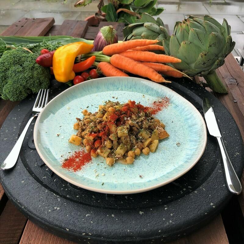 Jackfruit Ragout mit Kartoffeln und Kichererbsen (Vegan)