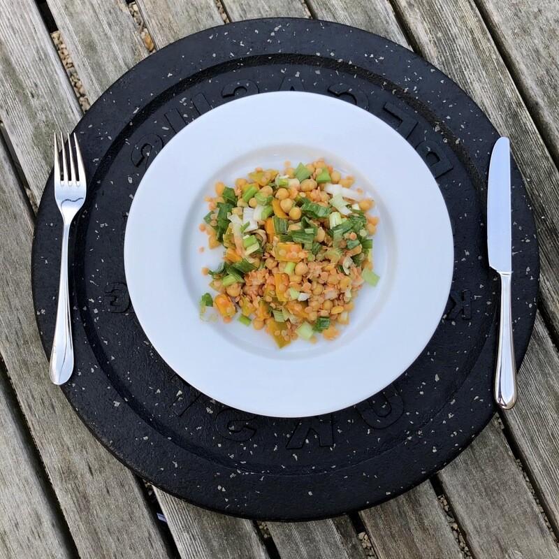 Kürbis-Linsen-Kichererbsen Salat