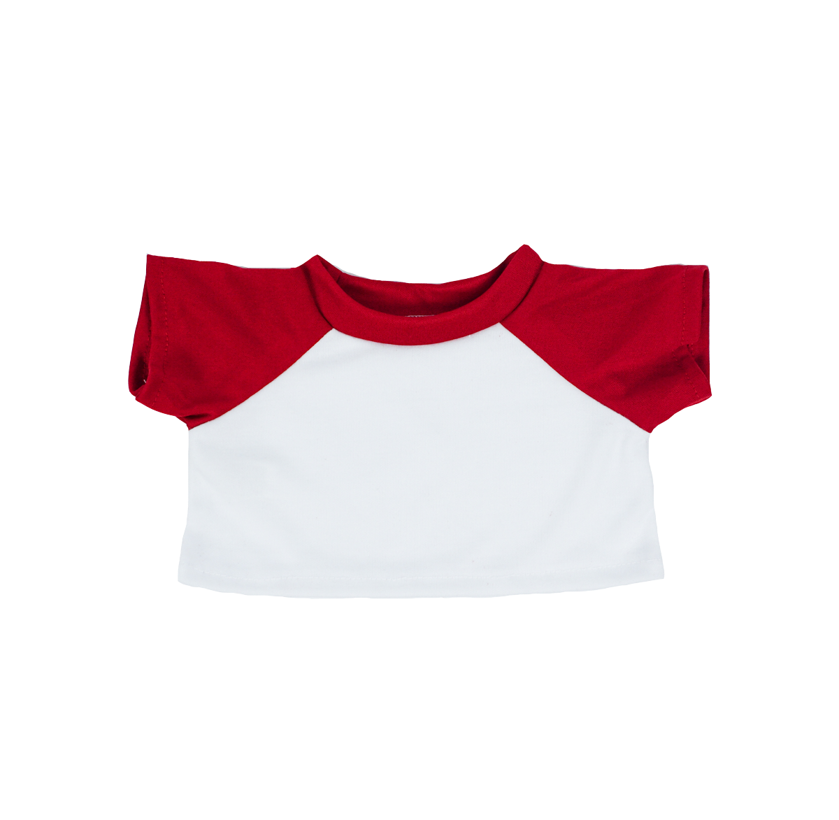 White with Red Sleeves Basic T-Shirt - 16 inches