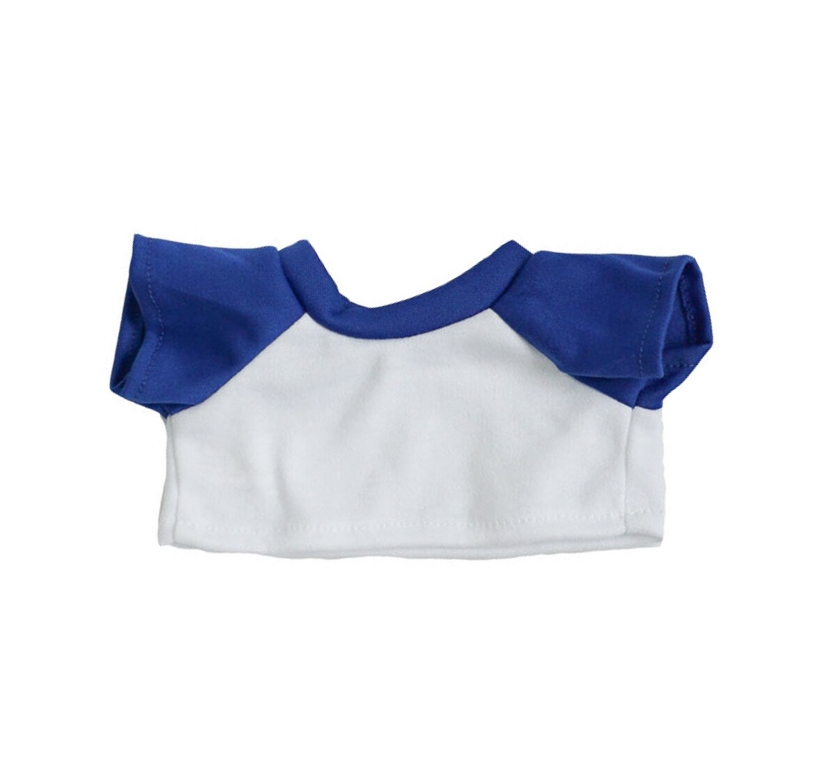 White with Blue Sleeves Basic T-Shirt - 16 inches